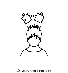 Man with puzzles over head icon, outline style