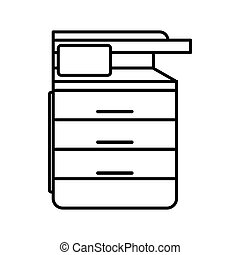 Multipurpose device, fax, copier and scanner icon in outline...