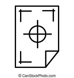 impresora, marcas, en, Un, papel, icono, contorno, estilo,