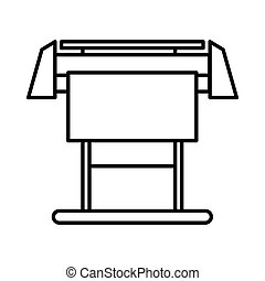 Large format inkjet printer icon, outline style