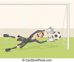 Football goalkeeper catches ball