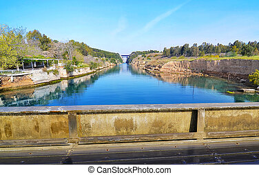 Corinth canal - Corinth Isthmus Gre - landscape of Isthmus...