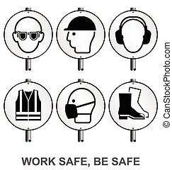 Monochrome Health and Safety Signpo - Monochrome mandatory...