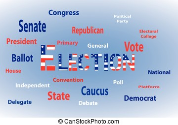 Election Word Cloud - Red white and blue text with American...