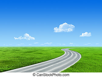 Very detailed 7000px road over grass field - nature...