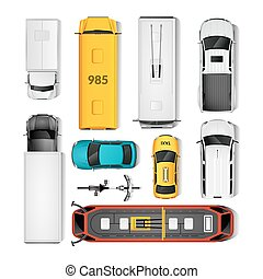 City Transport Top View Set - City Transport Top View Icons...