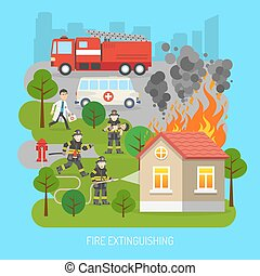 Firemen At Work Concept Flat Poster - Firefighters rescuing...