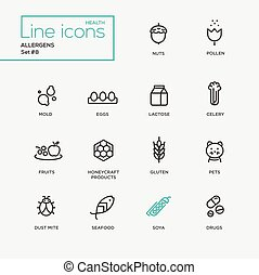 Allergens - simple thin line design icons, pictograms set -...