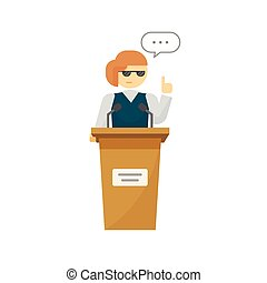 Spokeswoman on podium vector isolated, cartoon woman near...