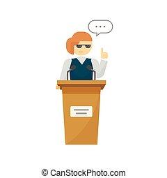 Spokeswoman on podium vector isolated, cartoon woman near tribune speaking