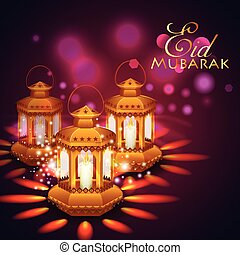 Iilluminated lamp for Eid Mubarak  background
