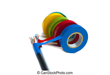 Rolls of insulation tape of different colors concept