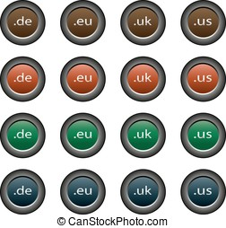 16 isolated multicolor buttons