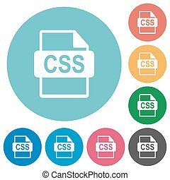 Flat CSS file format icons - Flat CSS file format icon set...