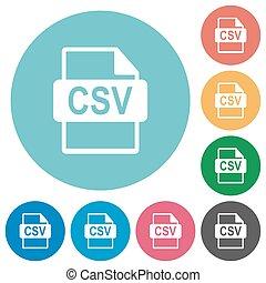 Flat CSV file format icons - Flat CSV file format icon set...