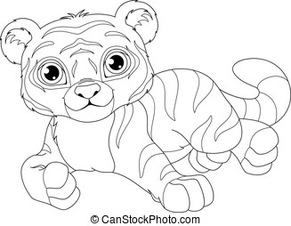Tiger Coloring Page - Tiger cub lies on a white background