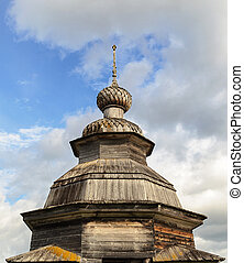 Cupola of old wooden orthodox chapel in the village...