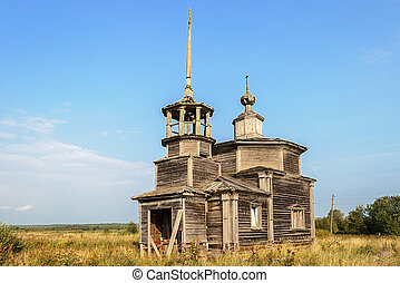 Ancient destroyed wooden orthodox church - Ancient deserted...