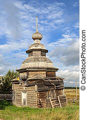 Old destroyed wooden orthodox chapel - Old wooden Chapel of...