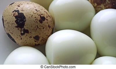 Dolly video of unshelled hard boiled and shelled quail eggs...