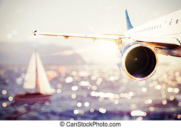 Summer holiday - Plane flies over the sea with a boat