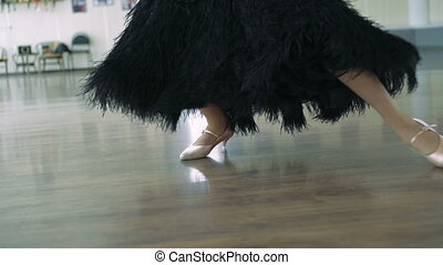 The legs of a girl in ballroom dancing. 4K - Dancing shoes...