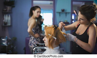 Professional hair color salon. Pretty and smiling girl came...