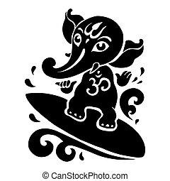 Hindu God Ganesha - Ganpati, Hindu God Ganesha Vector hand...