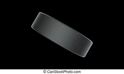 """Hockey Puck in motion."" - ""Hockey Puck in motion on black...."