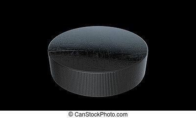 3D Hockey Puck - 3D rendering of Hockey Puck on black...