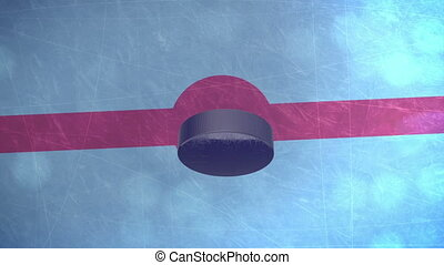 quot;3D Hockey Puckquot; - 3D Hockey Puck falls on an ice...