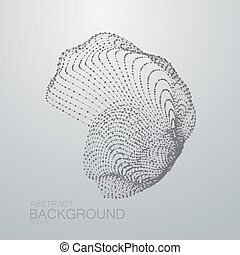 3D abstract shape of particles Futuristic vector...