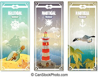 Retro Sea Nautical Vertical Banners