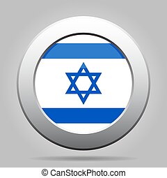 metal button with flag of Israel - metal button with the...