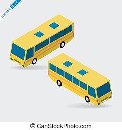 isometric space - yellow bus with blue windows, side views