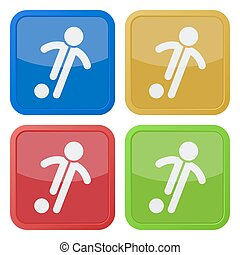 set of four square icons - football, soccer player