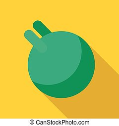 Green ball for fitness with handle icon flat style - Green...
