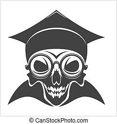 skull academic in graduation cap
