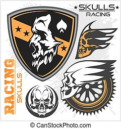 Skulls and car racing symbols