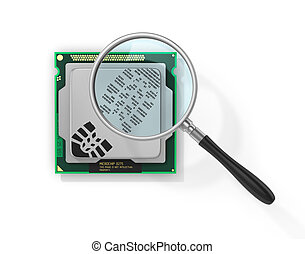 Concept of secure information. Magnifier over processor with...
