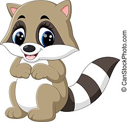 baby raccoon cartoon - illustration of baby raccoon cartoon