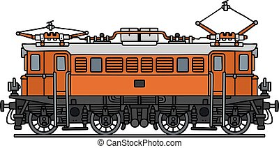 Old orange electric locomotive - Hand drawing of a classic...