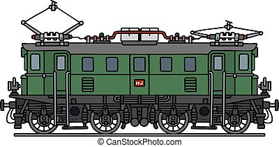 Old green electric locomotive - Hand drawing of a classic...