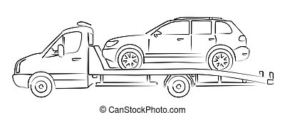 tow truck Sketch. - Sketch of the loaded tow truck.
