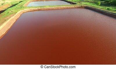 Red lakes in Kryvyi Rih, Ukraine, aerial photo - Red lakes...