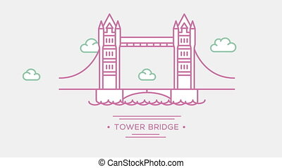 London Tower bridge. Part of the set. Animated outlined...