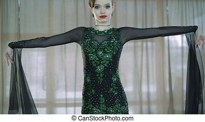 Girl dancing ballroom dancing. 4k - Professional dancers...