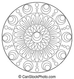 Coloring Floral Abstraction Ornament - Vector coloring...