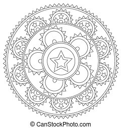 Coloring Black Star Mandala