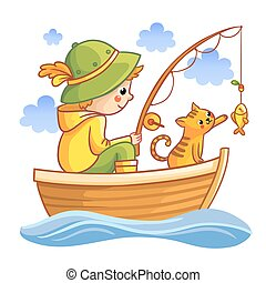 Fishing vector illustration Boy in a boat fishing with cat...